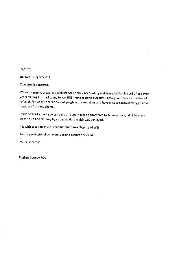 Eoghan Cooney Testimonial