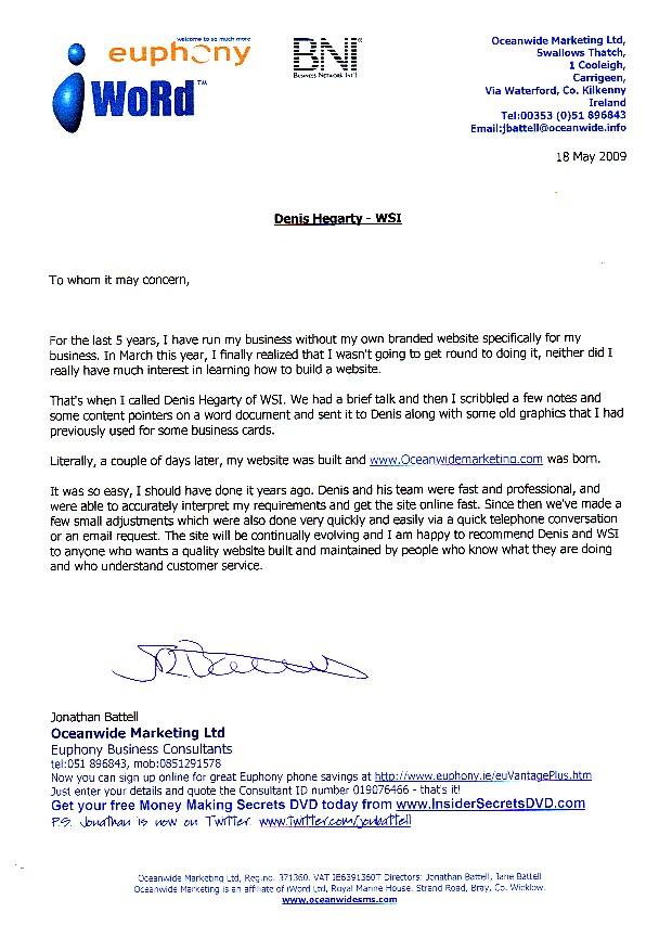 Testimonial from JonathanBattell